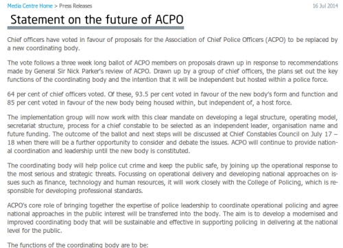 ACPO statement on future - 160714
