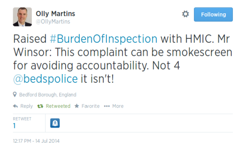 Olly Martins Burden of HMIC Inspection