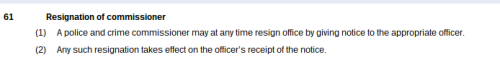PRSR 2011 - resignation of PCC