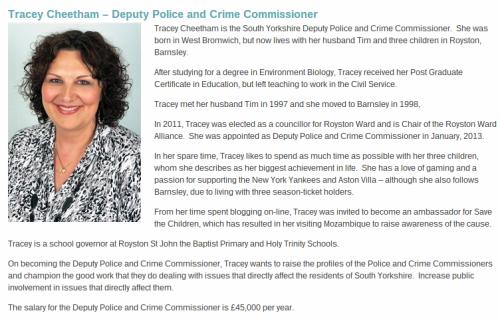 South Yorkshire Deputy PCC - Tracey Cheetham